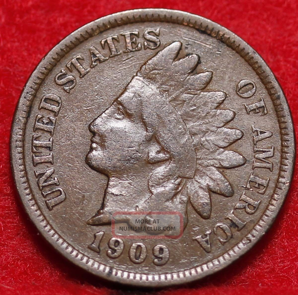 Circulated 1909 Philadelphia Copper Indian Head Cent Small Cents photo