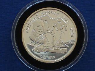 Isle Of Man 1/2 Crown Silver Proof 1997 Ships & Explorers Fridtjof Nansen Fram photo