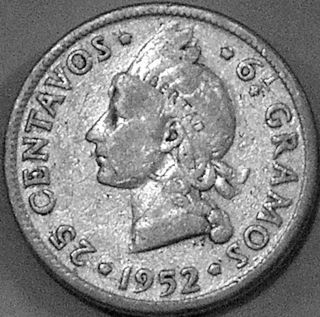 Dominican Republic 1952 25 Centavos - - - Silver Bargain - - - photo
