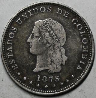 1875/4 Colombia Silver 5 Decimos (50 Centavos) Scarce Medellin Coin Km153.  4 photo