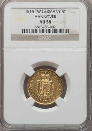 German States Hannover 1815 Tw 5 Thaler George Iii Ngc Au58 Rare Gold photo