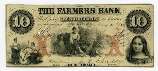 1855 $10 The Farmers Bank - Wickford,  Rhode Island Note photo