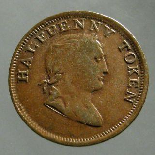 1820 Copper Halfpenny_trade Token_king George Iii_ireland / Hibernia photo
