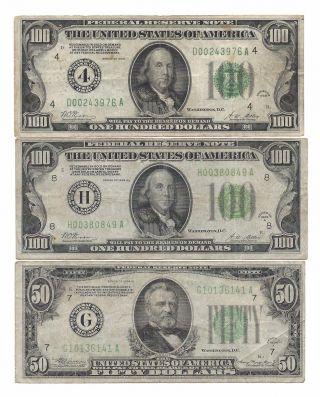 $250 Fv 1928a - 4 $100 Frn,  1928a - H $100 Frn,  Both Gold Reedem,  1934a - G Frn $50 photo