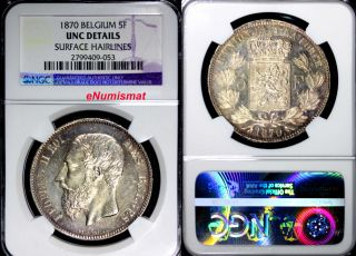 Belgium Leopold Ii Silver 1870 5 Francs Ngc Unc Details Luster Km 24 photo