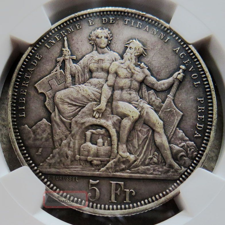 1883 Silver Switzerland Lugano In Ticino 5 Francs Shooting