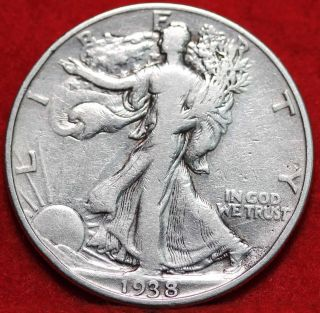 Circulated 1938 Philadelphia Silver Walking Liberty Half photo