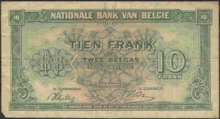 Belgium 1944 Government In Exile 10 Franc Circulated Banknote P122. photo