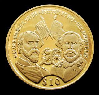 2000 Gold Liberia $10 Gettysburg Generals American Civil War Proof Coin photo