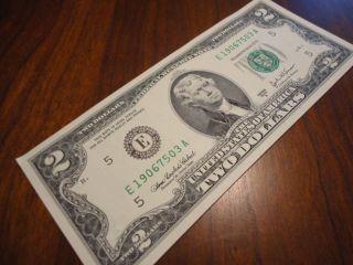 Us Money Dollar Two Dollar Bill Flat Un - Folded Bill Collectible Note $2 Bills photo