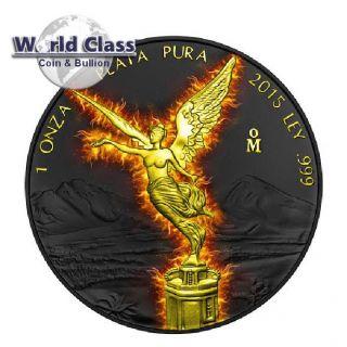 2015 Burning Libertad Black Ruthenium 1 Oz Silver Coin Mexico photo