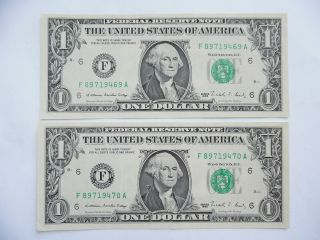 Coinhunters - 1988,  2 Consecutive Serial No.  $1 Federal Reserve Note,  Uncirculated photo