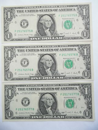 Coinhunters - 1988,  3 Consecutive Serial No.  $1 Federal Reserve Note,  Uncirculated photo