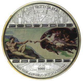 2008 Ars Vaticana Proof 3oz Silver Coin Michelangelo Image & Swarovski Crystals photo