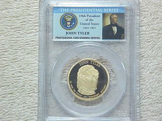 2009 S Uncirculated Proof John Tyler Presidential Dollar Pcgs Graded Pr69 Dcam photo