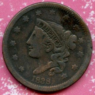 1838 (f) 1c Coronet Head Large Cent photo
