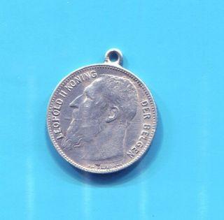 Belgium - Leopold Ii Silver Franc (frank),  1909 photo