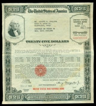 1943 Us 25 Dollars $25 E Series Wwii War Savings Bond Washington Cleveland Ohio photo