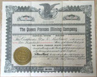 Queen Frances Mining Co Stock Certificate 1908 Cert No 36 Common Shares Colorado photo
