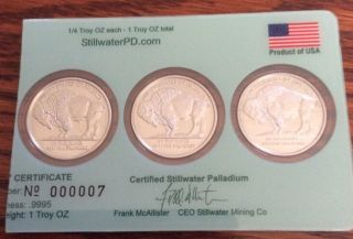 Rare 3/4 Oz Palladium Buffalo Bullion Low Certificate Number Stillwater photo