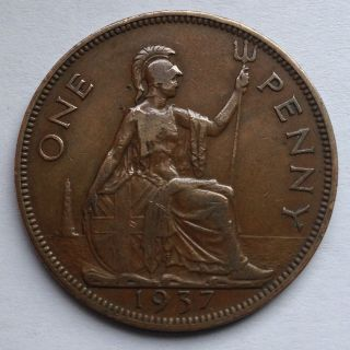 L3 Uk Great Britain Penny,  1937 For 1 Coin Only photo