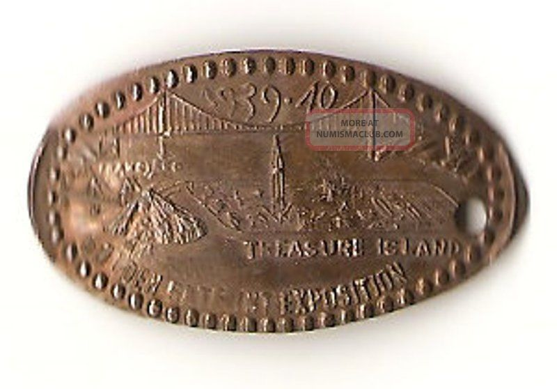 Golden Gate Int.  Expo. ,  Treasure Island,  1939 - 40,  San Francisco,  Elongated Cent Exonumia photo