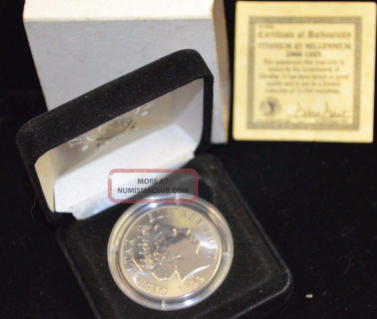 1999 2000 Millennium Gibraltar 5 Pounds Titanium Coin Gibraltar photo