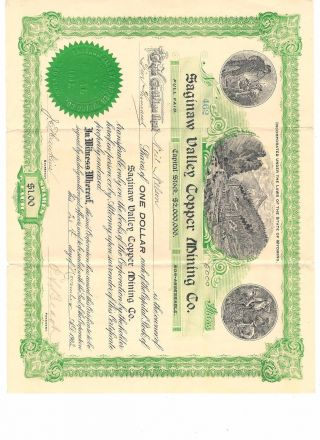 Saginaw Valley Copper Mining Company Stock Certificate,  5000 Shares X$1 Vintage photo