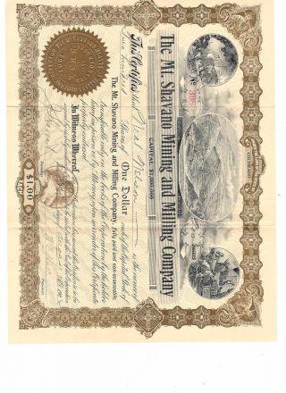 Vintage 1901 Mt.  Shavano Mining & Milling Company Stock Certificate,  200 Shares photo