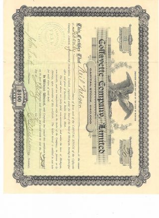 Vintage Coffayette Company,  Limited Stock Certificate,  20 Shares,  $100 Each photo