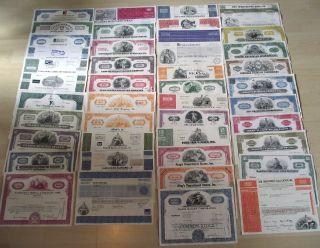 80 Diff Rare Old U.  S.  Stocks 37c Includes Railroad Aviation Auto Pharma & More photo