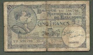 Belgium 1938 5 Francs 6796 99 Cents Or Less photo
