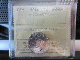Canada 1944 Iccs Graded Ms - 64 5 Cents photo