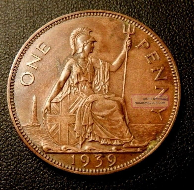 Great Britain Penny,  1939,  Britannia Seated Right - Fantastic Detail - UK (Great Britain) photo