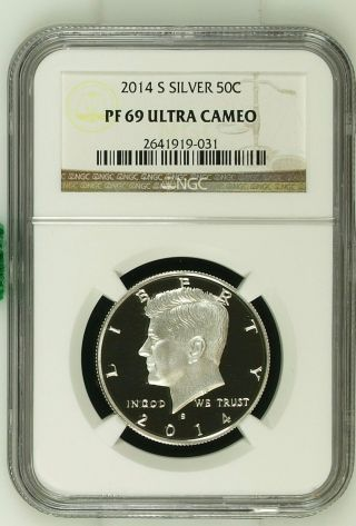 2014 - S 50c Silver Kennedy Half Dollar Pf 69 Ultra Cameo photo