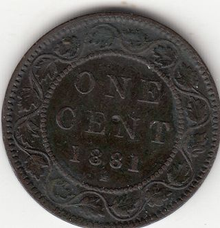 1881h Victoria Large Cent F 12 photo