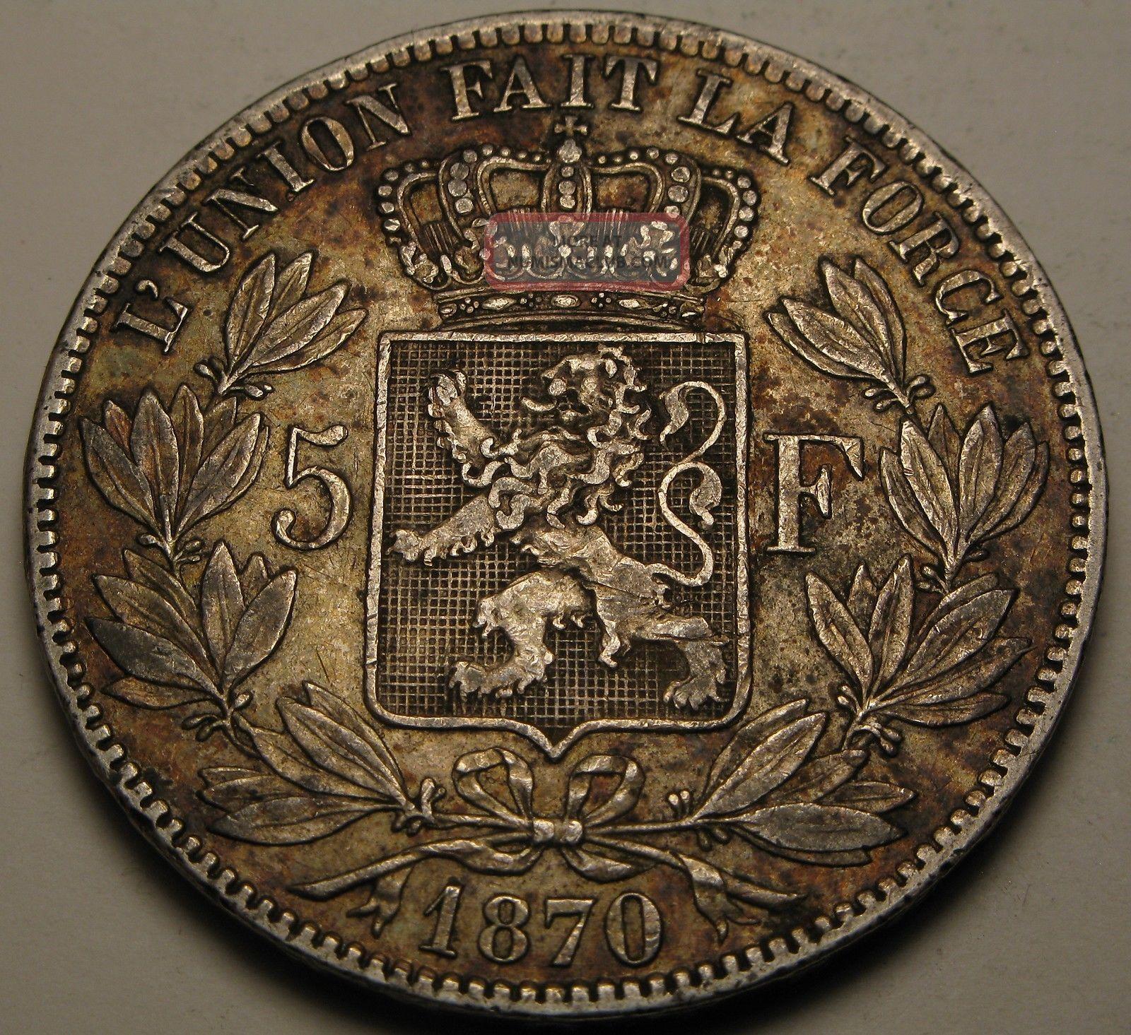Belgium 5 Francs 1870 - Silver - Leopold Ii.  - Vf 1616 Europe photo