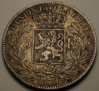 Belgium 5 Francs 1870 - Silver - Leopold Ii.  - Vf 1616 photo