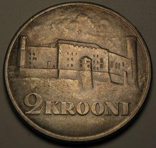 Estonia 2 Krooni 1930 - Silver - Toompea Fortress At Tallinn.  - Vf/xf 1624 photo