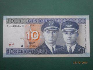 Lithuania 2001 10 Litu Banknote Unc photo