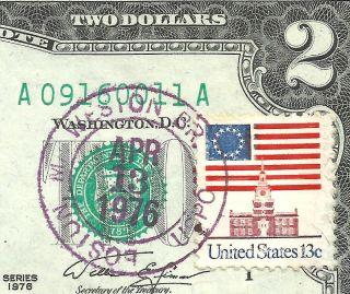 1976 $2 Boston Au/unc First Day Issued 4 - 13 - 76 Weston Br.  Boston Mass. photo