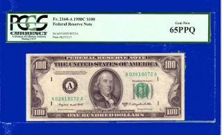 On Boston Gem Pcgs 65 Ppq $100 Dollars 1950c Smith Dillon 65 Years Old photo