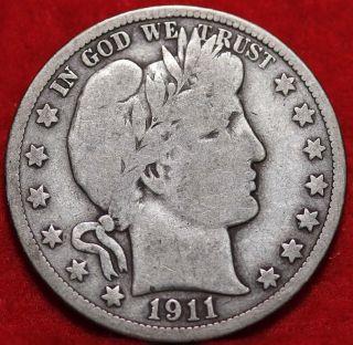 Circulated 1911 Philadelphia Silver Barber Half Dollar photo