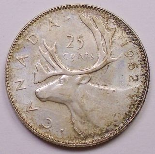 1952 Lr Twenty - Five Cents Ef Last King George Vi Silver Quarter photo