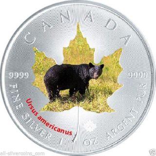 2015 Canadian Wildlife $5 1 Oz Silver.  9999 Maple Leaf - Black Bear photo