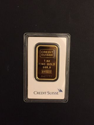 Credit Suisse Gold.  9999 Bullion Bar 1 Oz Certified In Assay 841171 photo