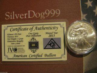 2013 Palladium Bar & 2015 Silver Eagle Coin,  Airtight photo