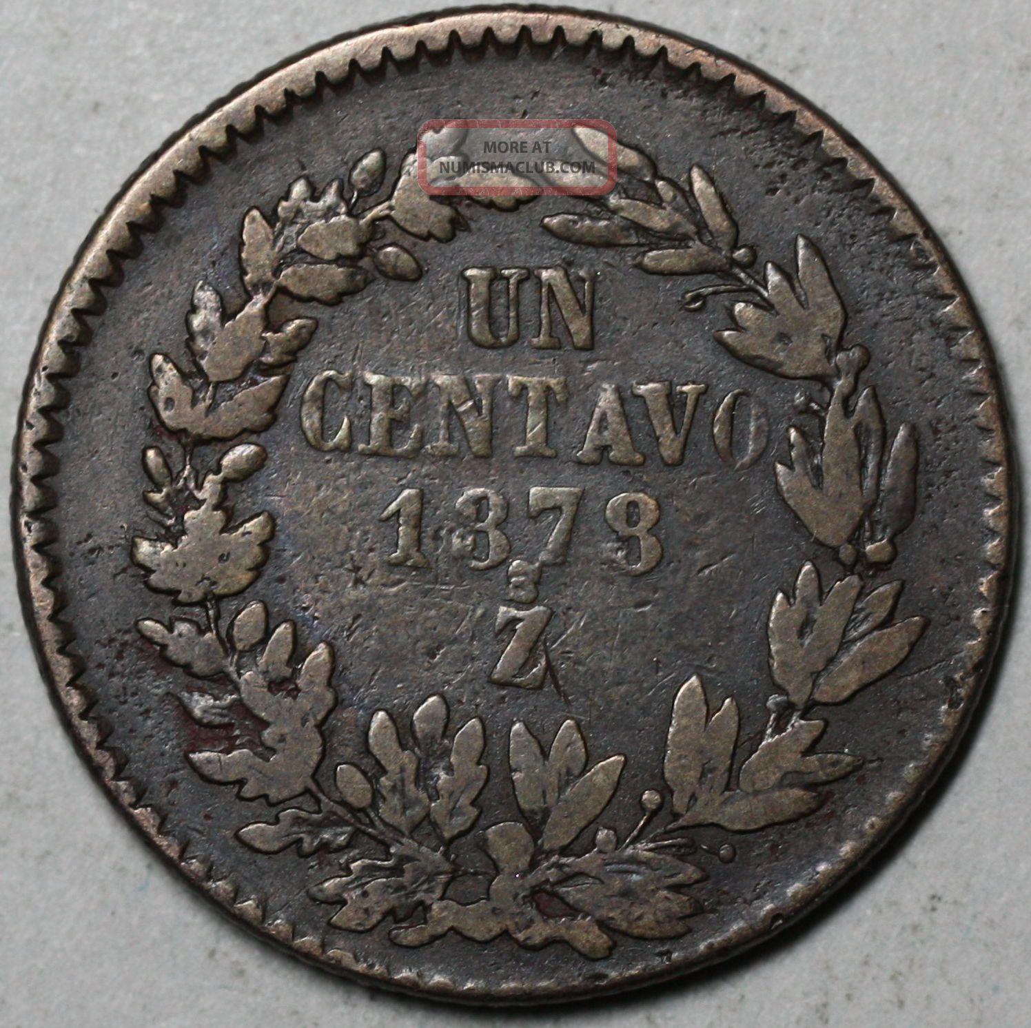 1878 Zs Large Centavo Mexico Big Copper Centavo Rare