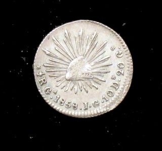 1858 Ga Jg Uncirculated Details  Mexico Silver 1/2 Real - Mx60 photo