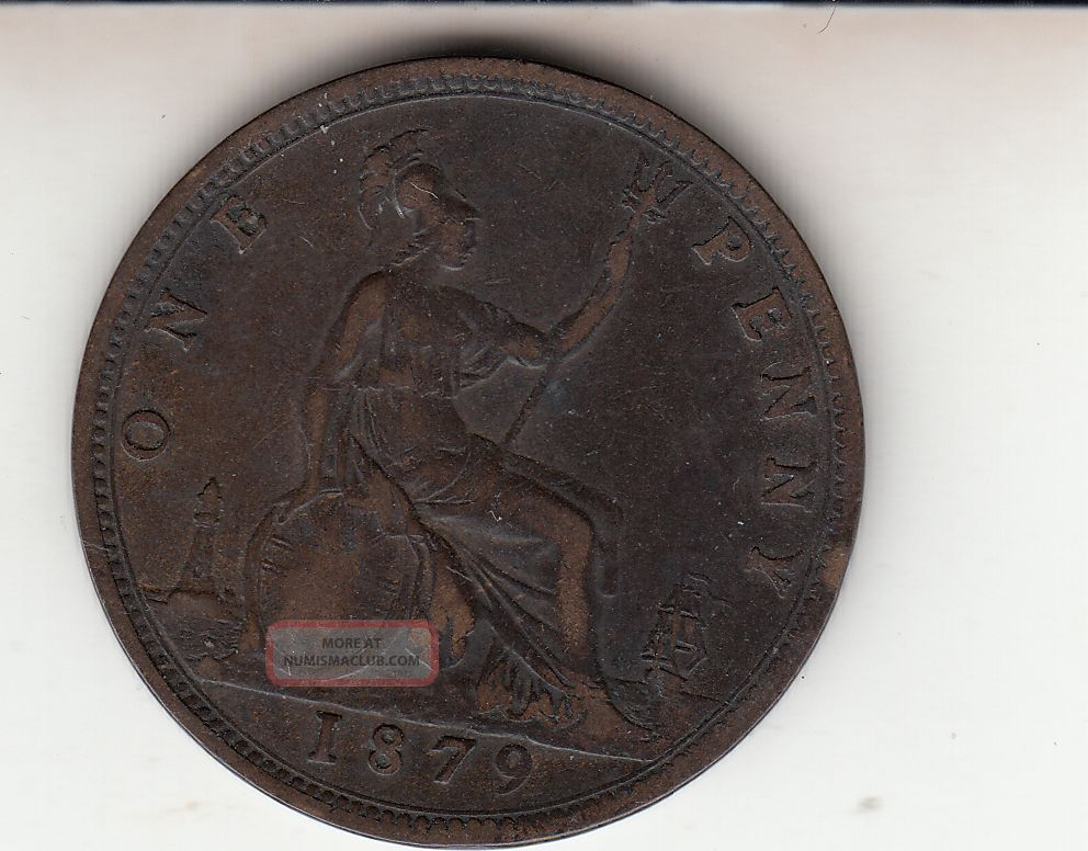 1879 Queen Victoria Large One Penny 1d Bronze British Coin